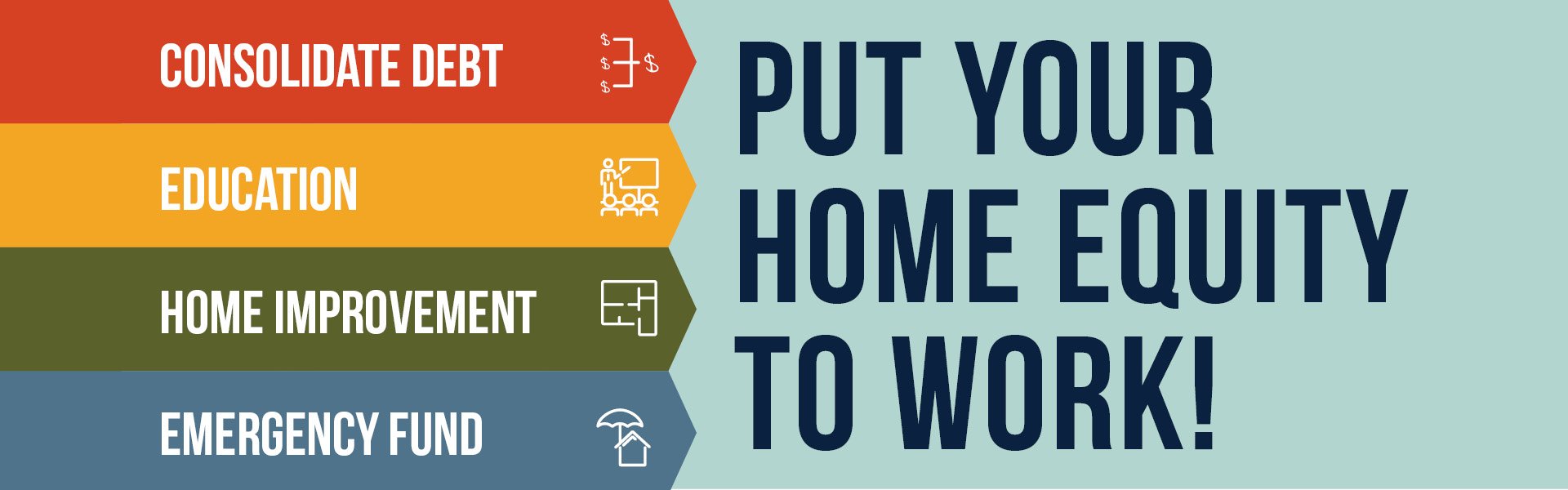Consolidate Debt. Education. Home Improvement. Emergency Fund. Put your Home Equity to Work!