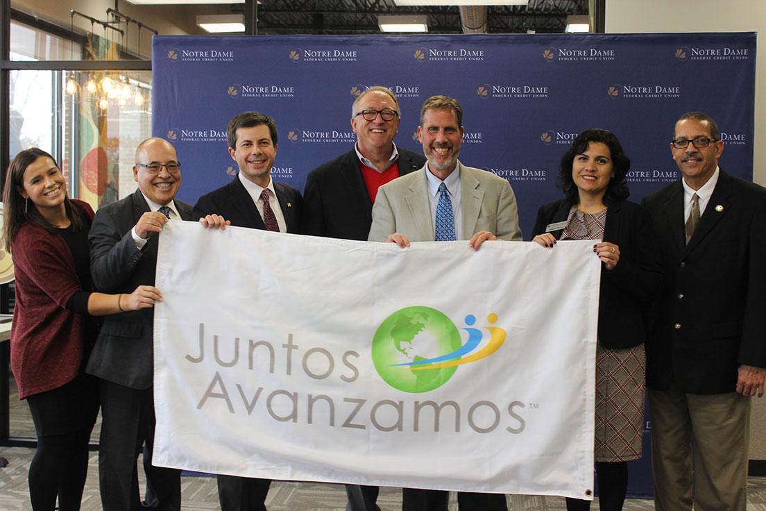 From Left to Right: Esmi Rivera, Pablo DeFilippi, Pete Buttigieg, Tom Gryp, John Wilkening, Esmi Rivera, Edwin Santiago