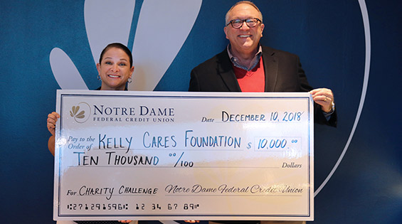 Notre Dame Federal Credit Union Donates $10,000 In USC Charity Challenge Winnings to Kelly Cares Foundation